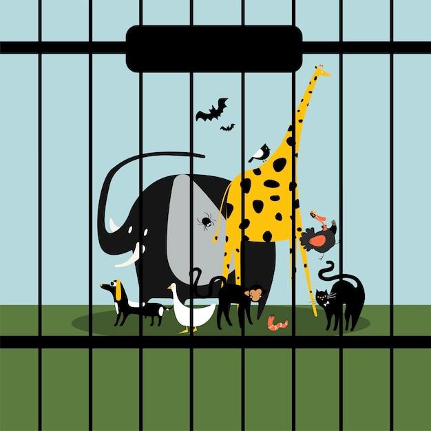 Animaux sans défense gardés en captivité Vecteur gratuit