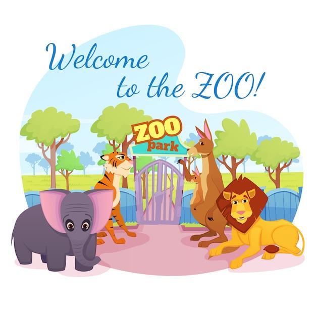 Les Animaux Sauvages D'afrique Et De La Forêt Se Tiennent à La Porte D'entrée Du Parc Vecteur Premium