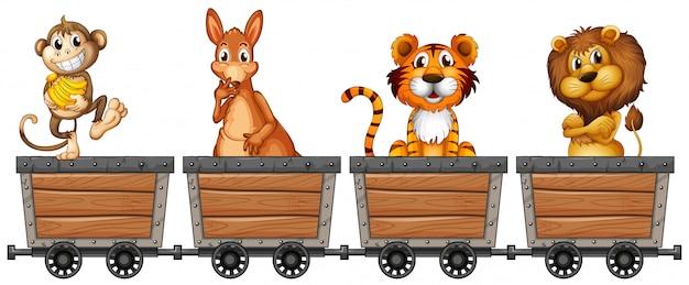 Animaux sauvages dans des chariots miniers Vecteur gratuit