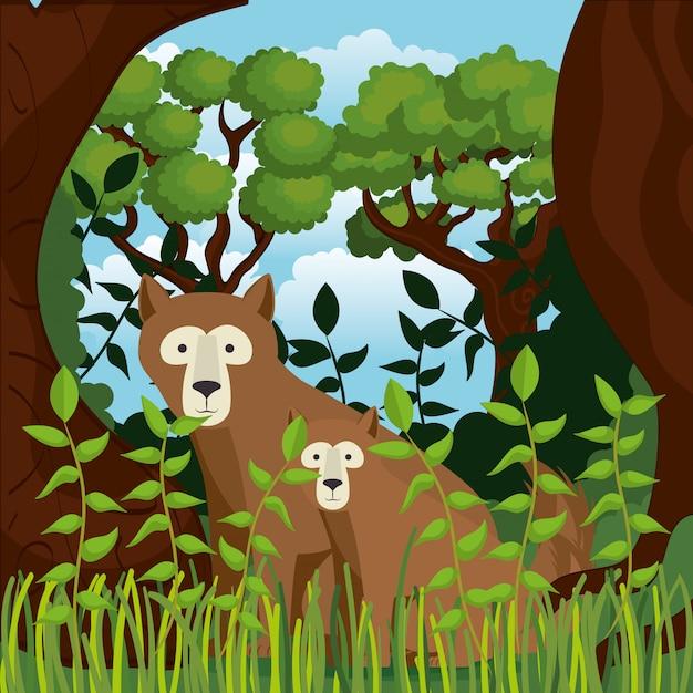 Animaux sauvages dans la scène de la jungle Vecteur gratuit