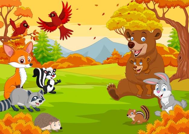 Animaux sauvages de dessin animé dans la forêt d'automne Vecteur Premium