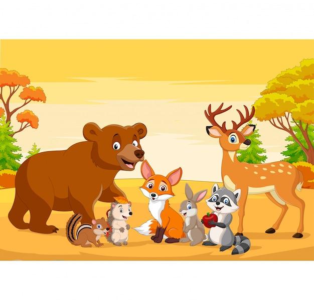 Animaux sauvages de dessin animé dans la forêt d'automne ...
