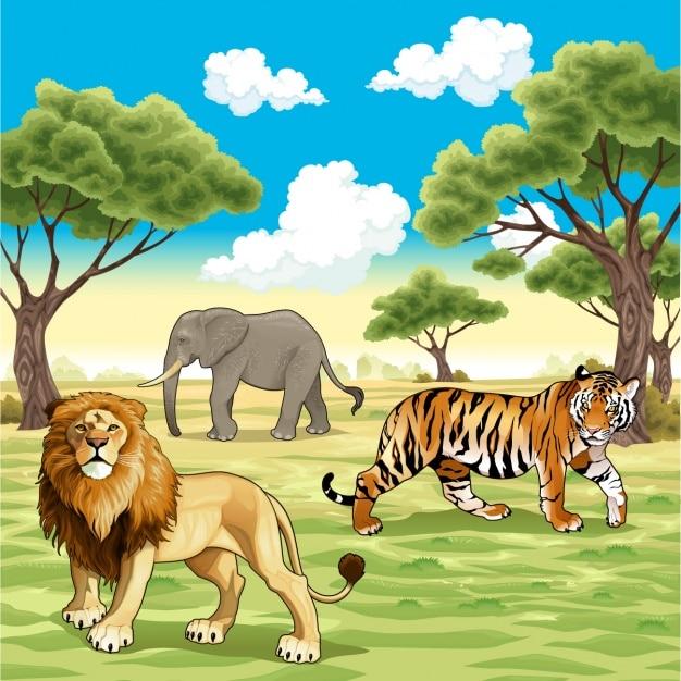 Les animaux sauvages fond Vecteur gratuit
