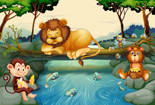 Animaux sauvages sur la rivière Vecteur Premium