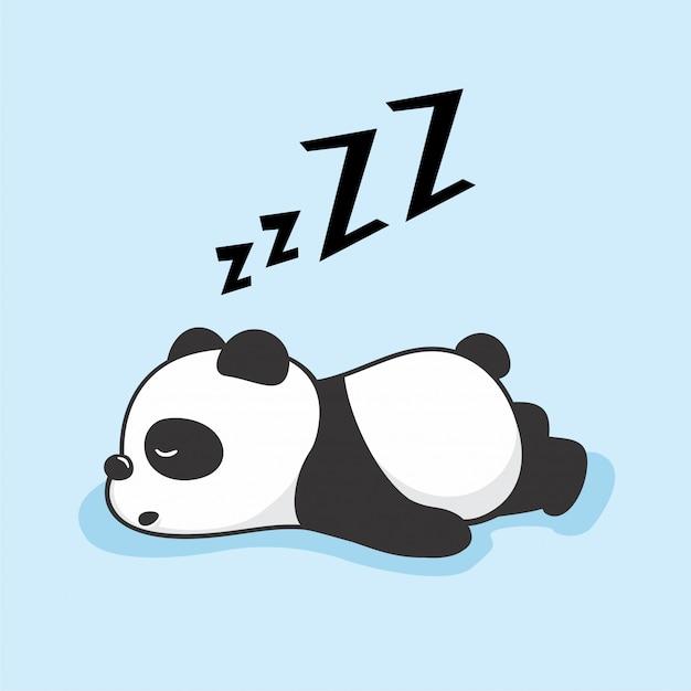 Animaux De Sommeil De Dessin Animé Panda Paresseux Vecteur Premium