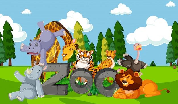 Animaux De Zoo Dans Le Fond De La Nature Sauvage Vecteur gratuit