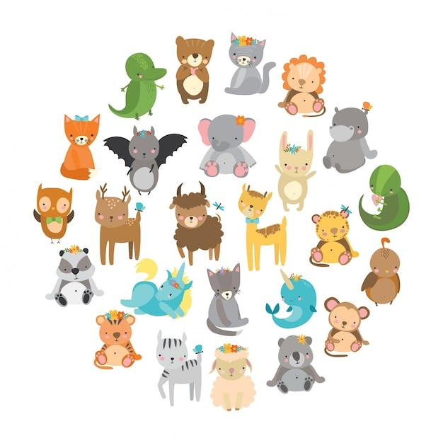 Animaux de zoo mignon Vecteur gratuit