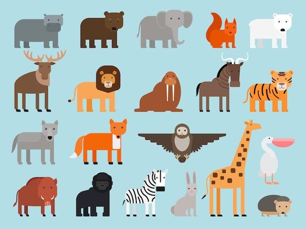 Animaux de zoo plats icônes colorées Vecteur Premium