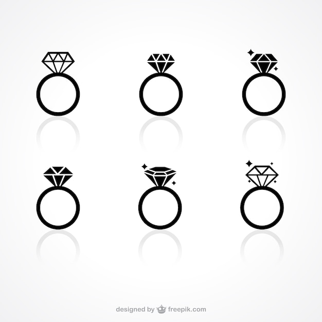 Anneau icônes diamant Vecteur gratuit