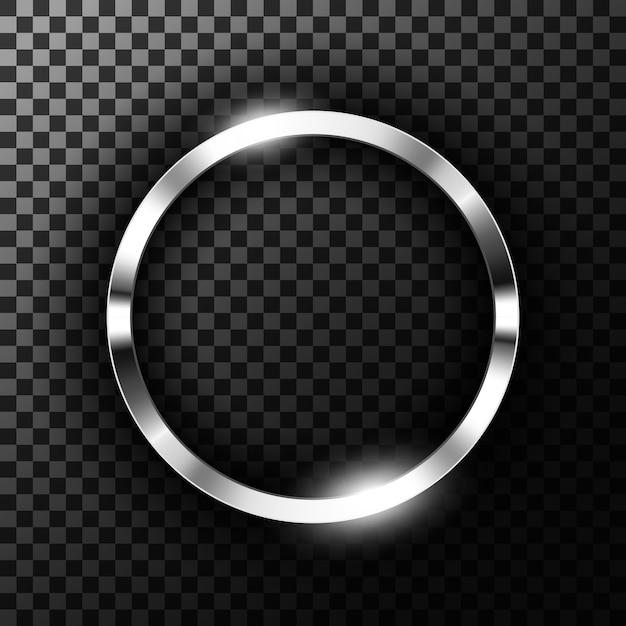 Anneau métallique chromé Vecteur Premium