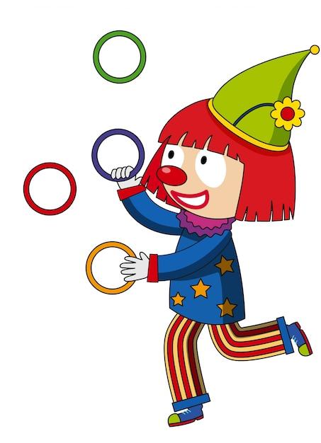 Anneaux De Jonglage Joyeux Clown   Vecteur Gratuite