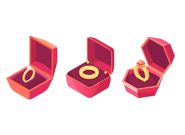 Anneaux De Mariage Dans Le Vecteur Isométrique De Cas De Luxe Vecteur gratuit