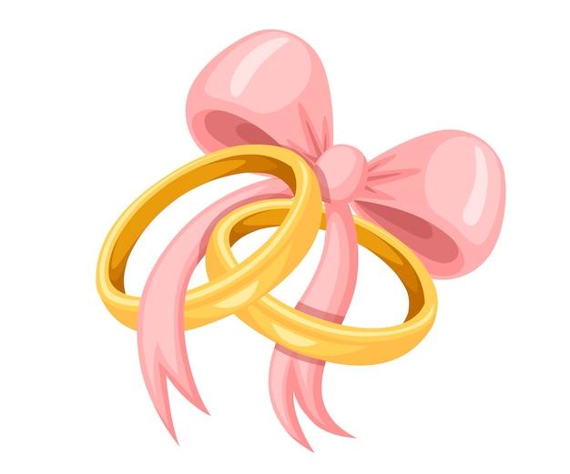 Anneaux De Mariages Dorés Avec Illustration D'arc Rose Vecteur Premium