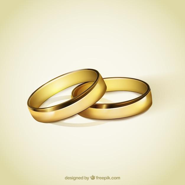 Anneaux d'or pour le mariage Vecteur gratuit