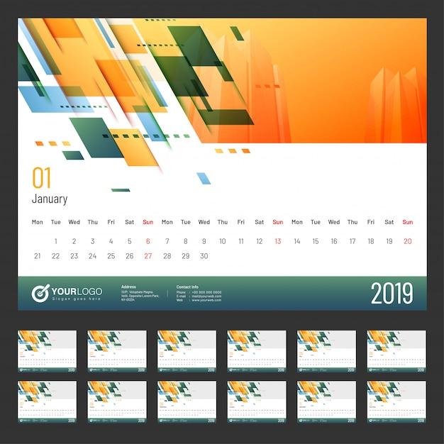 Année 2019, conception du calendrier. Vecteur Premium
