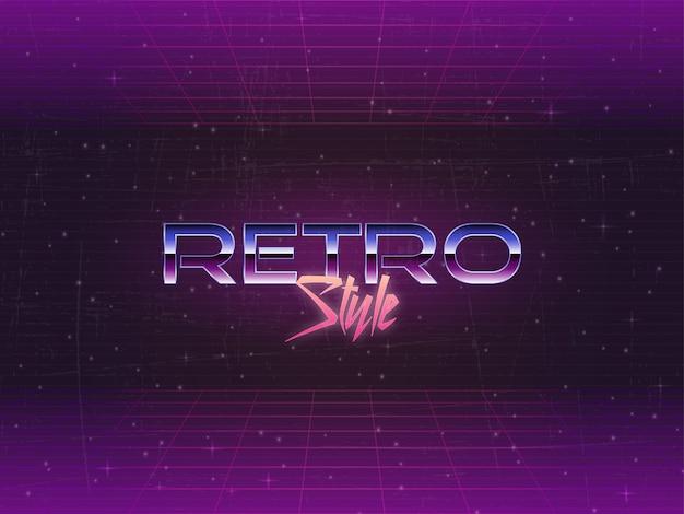 Années 1980 texte vectoriel éditable de fond rétro Vecteur Premium