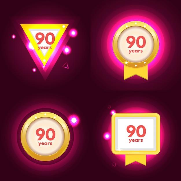 Anniversaire 90 Icon Vecteur Premium