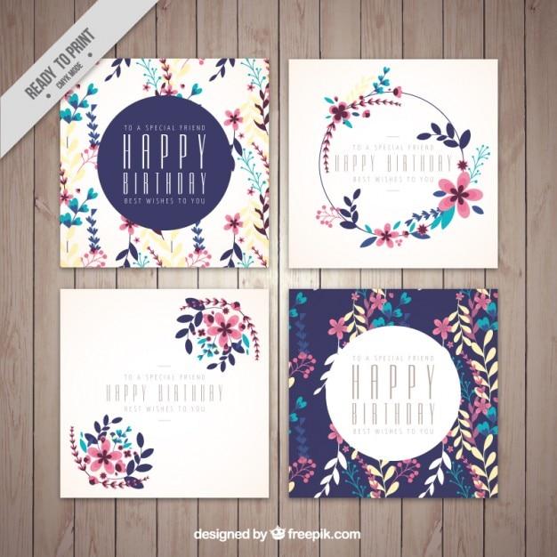 Anniversaire carte de voeux, thème floral Vecteur gratuit