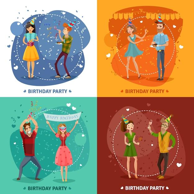 Anniversaire fête 4 icônes composition carrée Vecteur gratuit