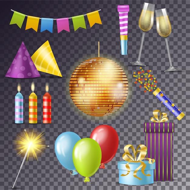 Anniversaire fête vector bande dessinée célébration joyeux anniversaire avec des cadeaux ou des ballons sur anniversaire ensemble de disco ball ou bougie et nouvel an sparkler illustration isolé Vecteur Premium