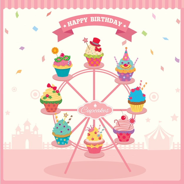 Anniversaire de la grande roue cupcake Vecteur Premium