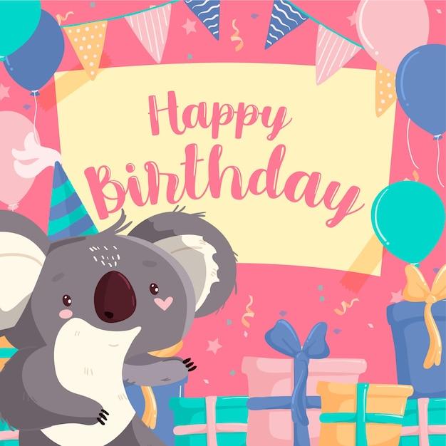 Anniversaire post instagram et smiley koala Vecteur gratuit