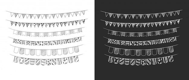 Anniversaire ruban définit la main dessin illustration Vecteur Premium