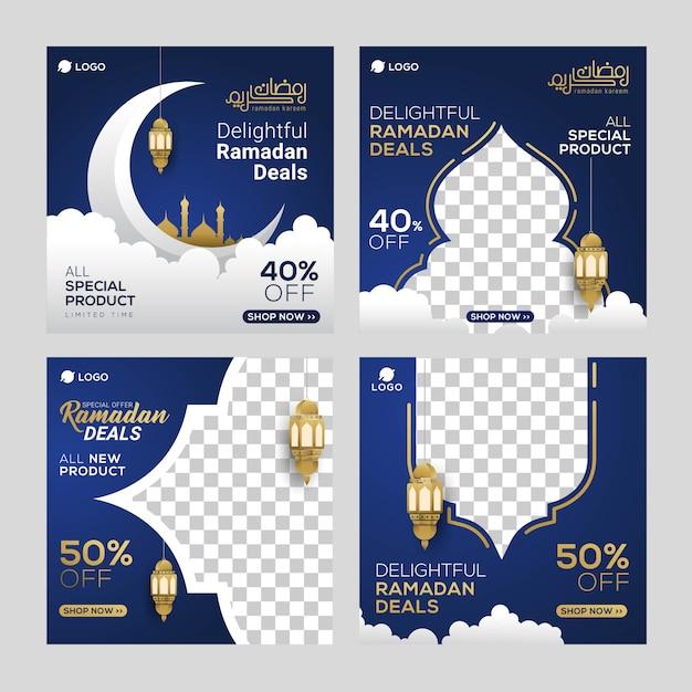 Annonce de bannières pour le modèle de publication de médias sociaux du ramadan Vecteur Premium