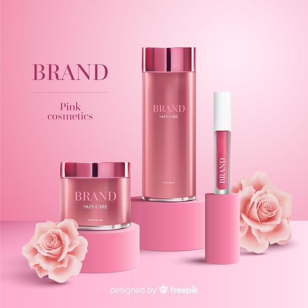 Annonce cosmétique rose Vecteur gratuit