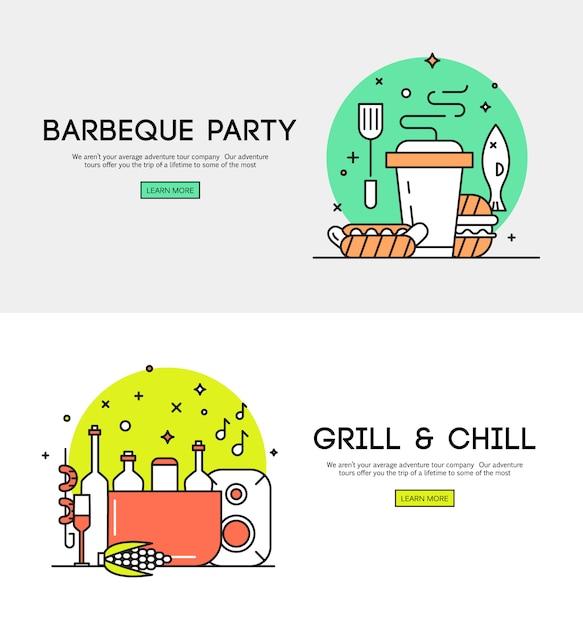 Annonce de la fête d'ouverture de la saison barbecue avec des accessoires pour le barbecue Vecteur gratuit