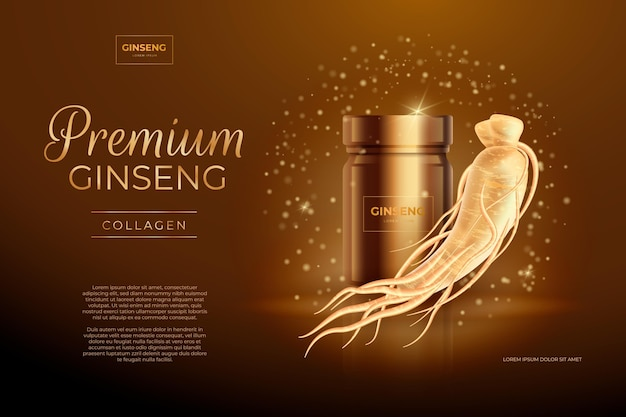 Annonce De Ginseng Réaliste Avec Des Particules D'or Vecteur gratuit