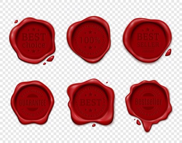 Annonce De Produit De Cachet De Cire Sertie De Six Plaquettes Isolées Sur Transparent Avec Emblèmes De Texte Silhouette Vecteur gratuit