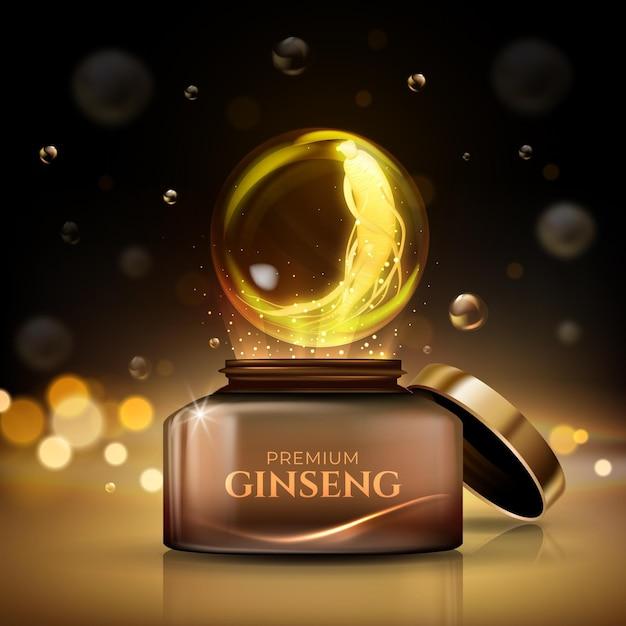 Annonce Réaliste Sur Le Ginseng Vecteur gratuit