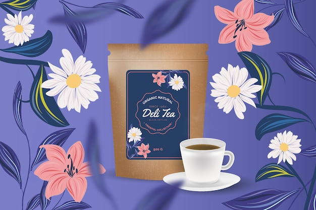 Annonce de thé avec décoration de dessin à la main Vecteur gratuit