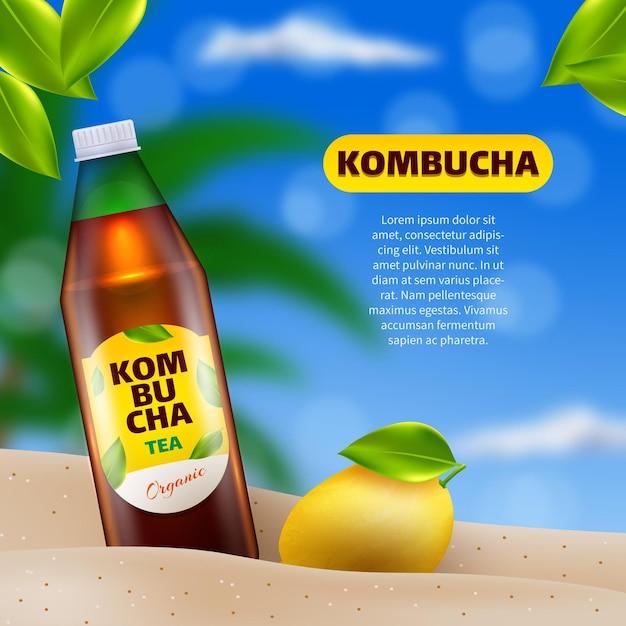 Annonce De Thé Kombucha Réaliste Vecteur gratuit