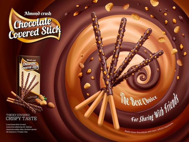 Annonces Bâton Recouvert De Chocolat, Bâton De Chocolat Avec écrasement D'amande Isolé Sur Sauce Riche Tourbillonnante Vecteur Premium