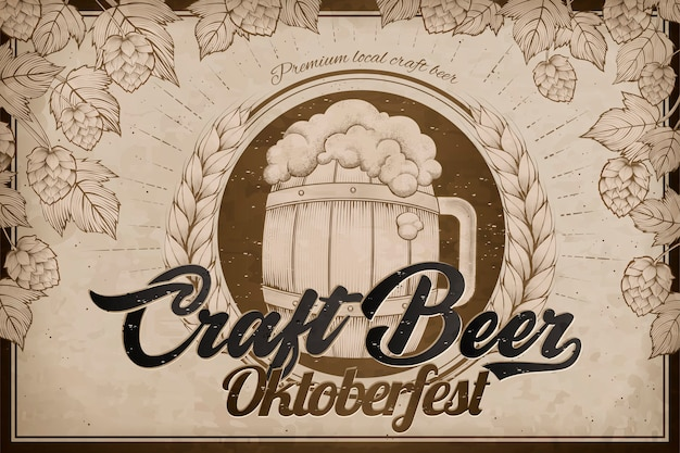 Annonces De Bière Artisanale, Baril De Bière De Style Gravure Rétro Et éléments De Houblon Pour Le Festival Oktoberfest Vecteur Premium