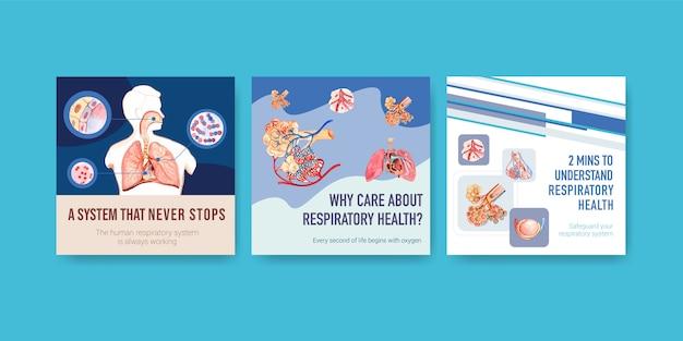 Annonces De Conception De Modèles Avec Anatomie Humaine Du Poumon Et Respiratoire Vecteur gratuit