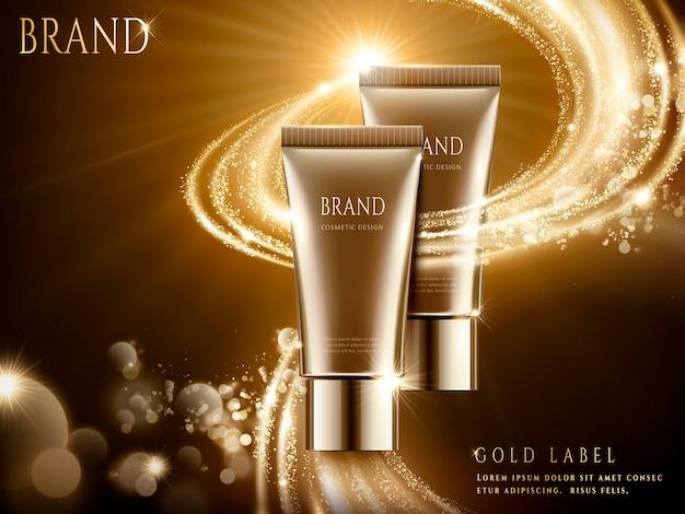Annonces Cosmétiques élégantes, Emballage De Tube Marron Avec Effet De Lumière étincelante En Illustration Vecteur Premium