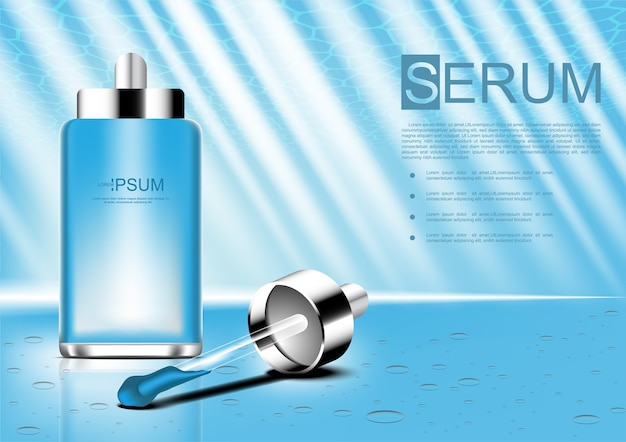 Annonces cosmétiques vecteur sérum et compte-gouttes Vecteur Premium