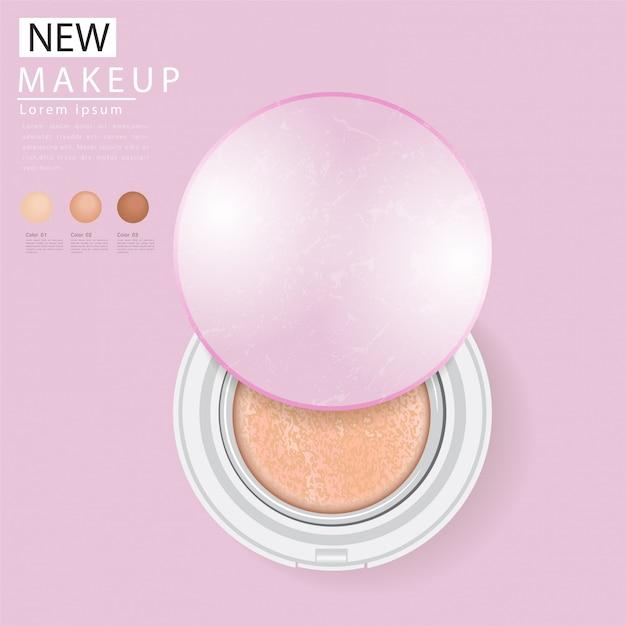 Annonces de fondation compactes, maquillage attrayant Vecteur Premium