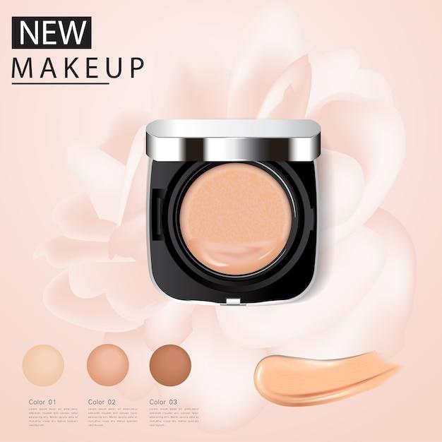 Annonces fondation, produit essentiel de maquillage attractif Vecteur Premium