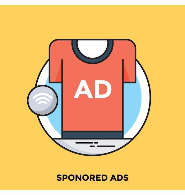 Annonces sponsorisées flat vector icon Vecteur Premium