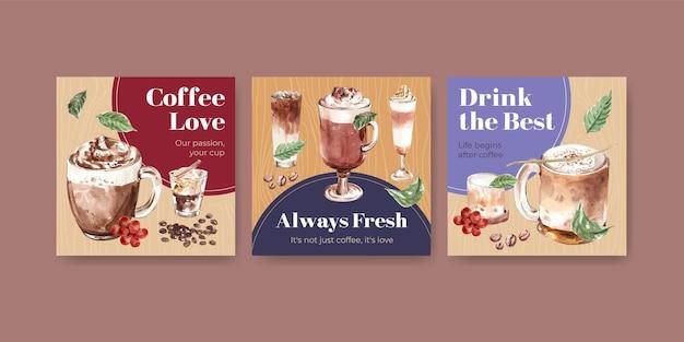 Annoncez Le Modèle Avec Le Concept De Style Café Coréen Pour Les Affaires Et Le Marketing Aquarelle Vecteur gratuit