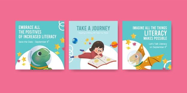 Annoncez Le Modèle Avec La Conception De Concept De Journée Internationale De L'alphabétisation Pour L'aquarelle De Marketing D'entreprise Vecteur gratuit