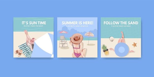 Annoncez Le Modèle Avec La Conception De Concept De Vacances à La Plage Pour Le Marketing Illustration Aquarelle Vecteur gratuit