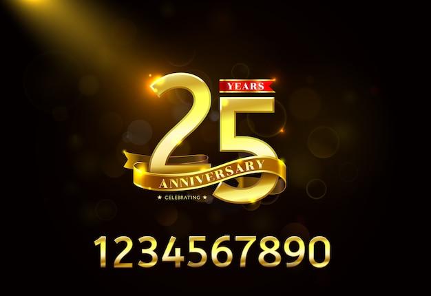 Ans anniversaire avec ruban d'or Vecteur Premium