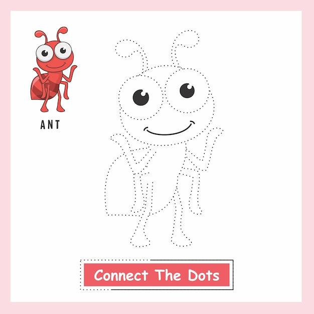 Ant connect the dots Vecteur Premium
