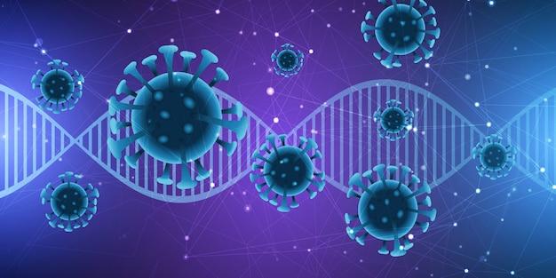 Antécédents Médicaux Avec Brin D'adn Et Cellules Virales Abstraites Vecteur gratuit