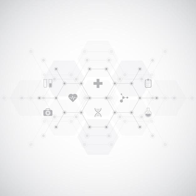 Antécédents Médicaux Avec Des Icônes Et Des Symboles Plats. Vecteur Premium